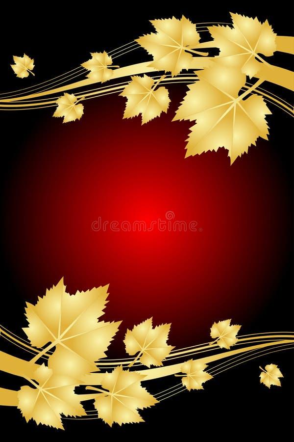 Fundo vermelho com folhas do ouro ilustração stock