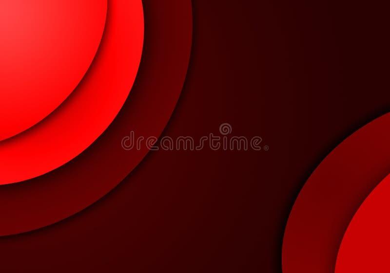 Fundo vermelho com projetos da forma circular ilustração stock