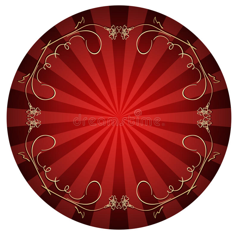 Fundo vermelho com quadro encaracolado do ouro ilustração do vetor