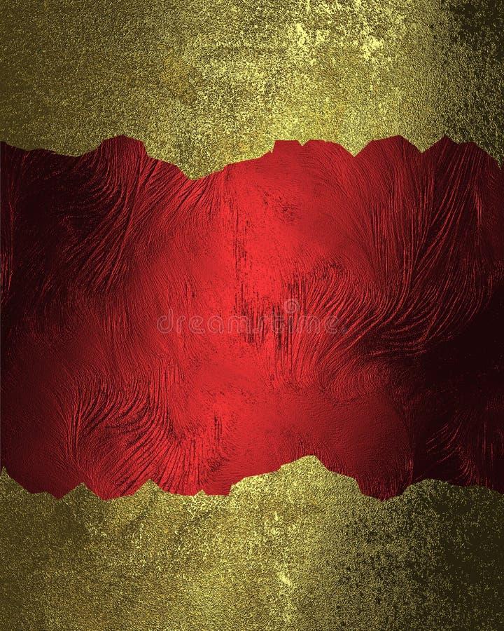 Fundo vermelho com quadros rachados do ouro Elemento para o projeto Molde para o projeto copie o espaço para o folheto do anúncio ilustração royalty free
