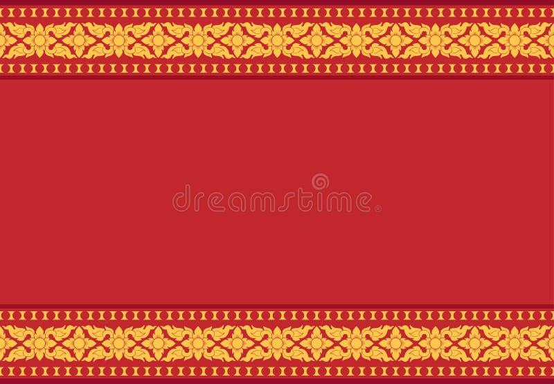 Fundo vermelho com teste padrão tailandês amarelo, vetor ilustração stock