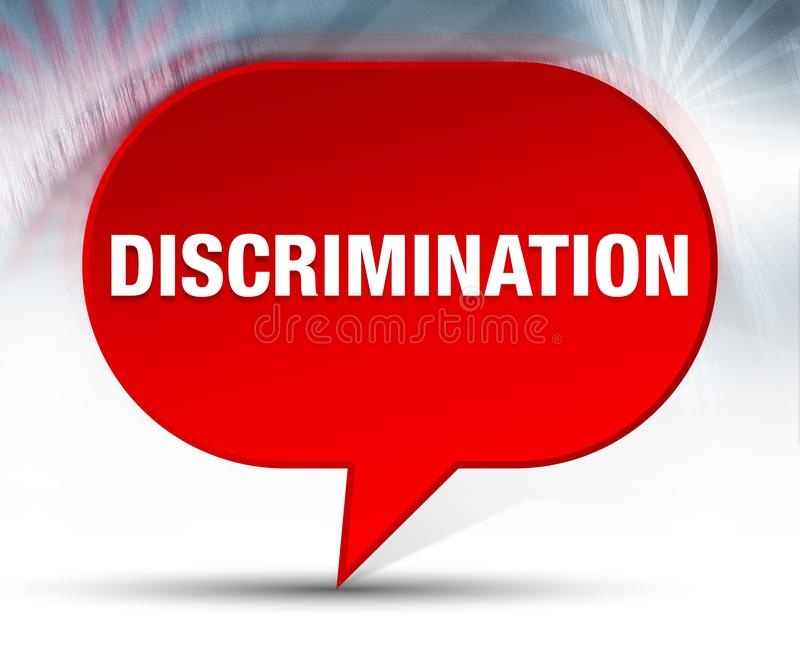 Fundo vermelho da bolha da discriminação ilustração stock