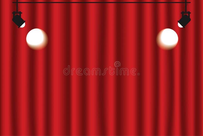 Fundo vermelho da cortina com projetores Cor vermelha, escura luxuosa ilustração do vetor