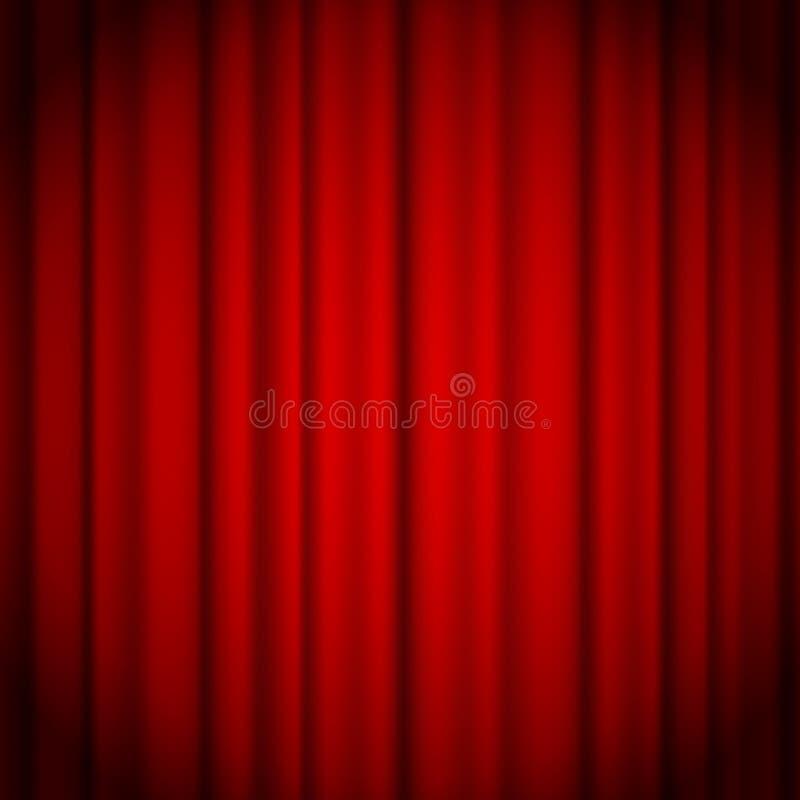 Fundo vermelho das cortinas iluminado por um feixe do projetor Ilustração vermelha do vetor da cortina da mostra do teatro ilustração do vetor