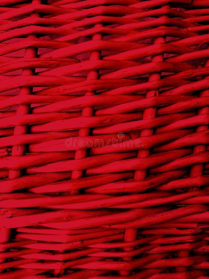 Fundo vermelho de Wickered dos galhos do withe Fim acima imagens de stock
