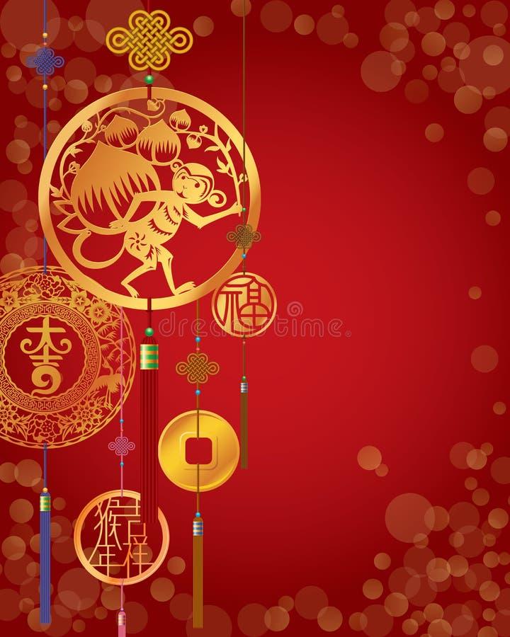 Fundo vermelho decorativo chinês do ano novo do macaco