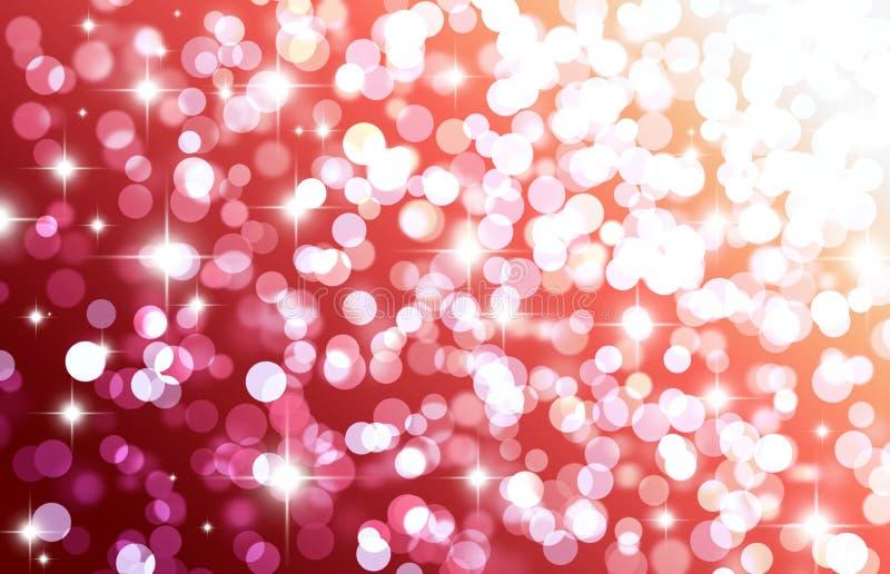 Fundo vermelho do bokeh, círculos brancos, brilho, efeito da luz, flas ilustração royalty free