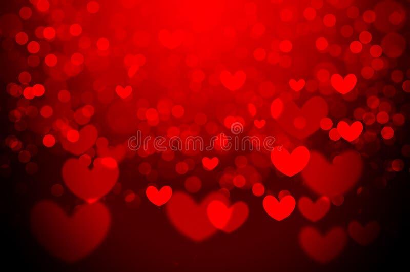 Fundo vermelho do bokeh do Natal do coração fotos de stock