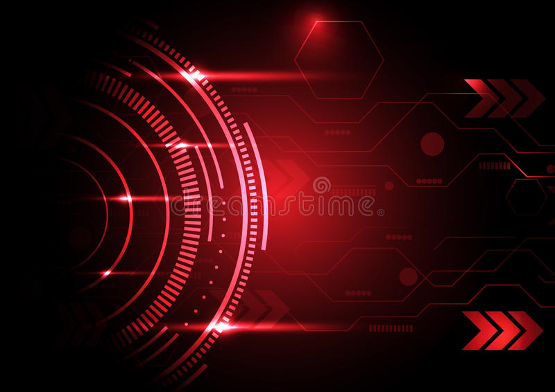 Fundo vermelho do círculo da tecnologia abstrata ilustração royalty free