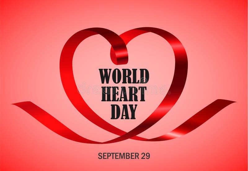 Fundo vermelho do conceito do dia do coração do mundo, estilo realístico ilustração royalty free