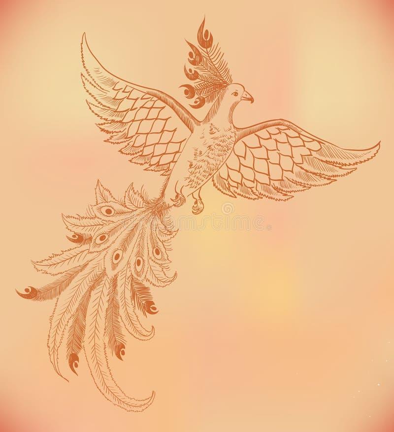 Fundo vermelho do desenho de phoenix ilustração do vetor