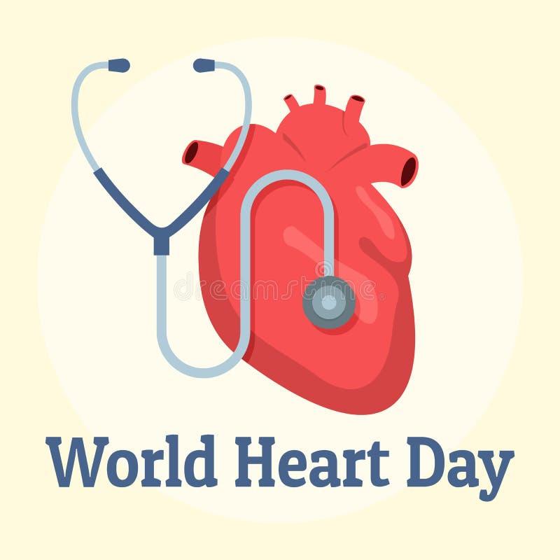Fundo vermelho do dia do coração do mundo, estilo liso ilustração stock