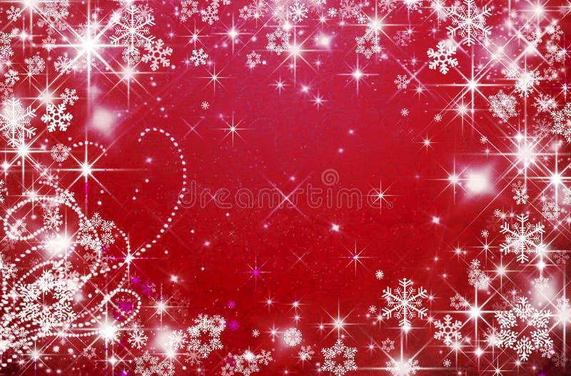 Fundo vermelho do feriado, Natal, flocos de neve, o dia de Valentim ilustração royalty free