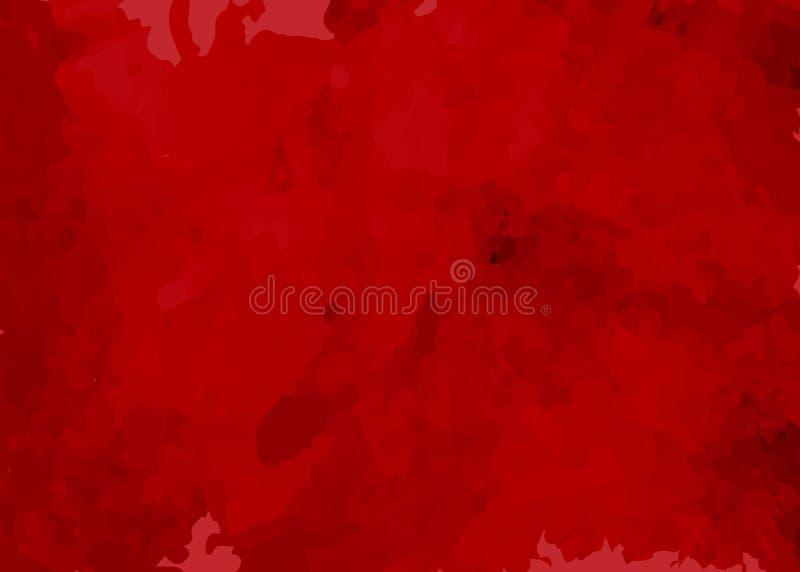 Fundo vermelho do grunge no estilo do watercolour, no conceito do tapete vermelho e na textura do molde para seu projeto ilustração do vetor