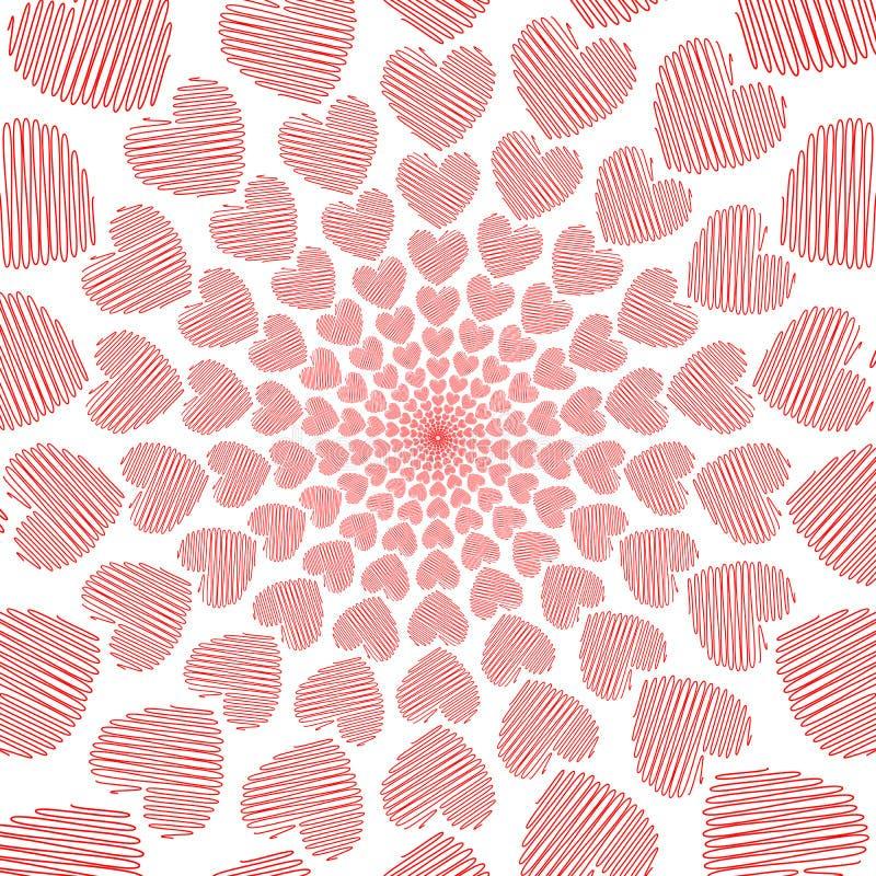 Fundo vermelho do movimento da espiral do coração da garatuja do projeto ilustração stock