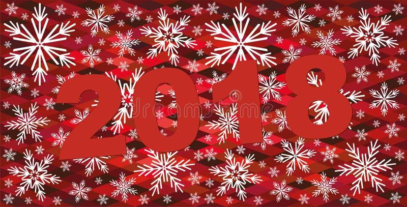 Fundo vermelho do Natal abstrato com flocos de neve 2018 comemoram o fundo ilustração stock