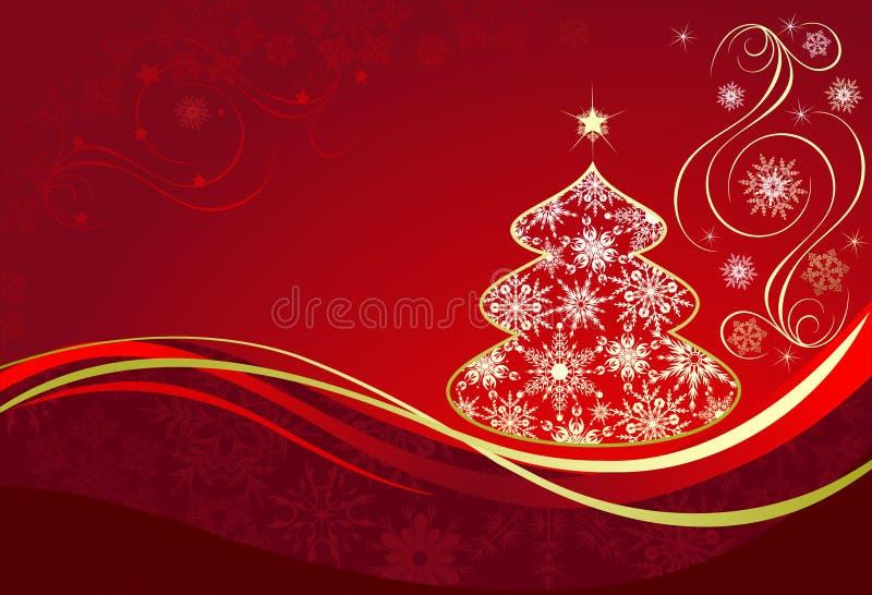Fundo vermelho do Natal com árvore ilustração stock