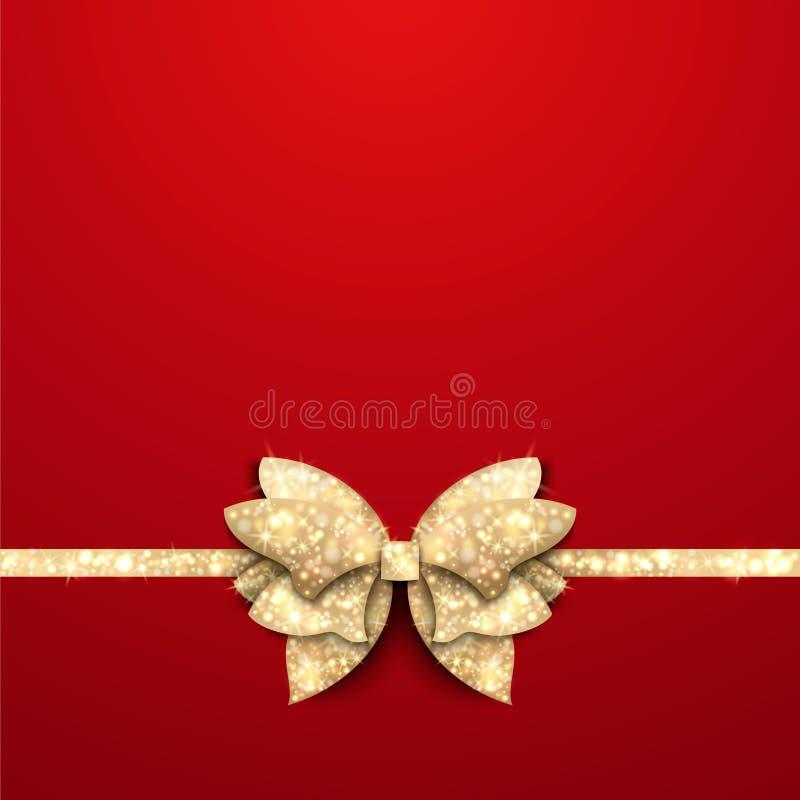 Fundo vermelho do Natal com curva do ouro ilustração stock