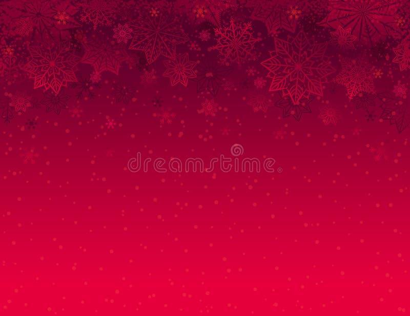 Fundo vermelho do Natal com flocos de neve e estrelas, vetor ilustração stock