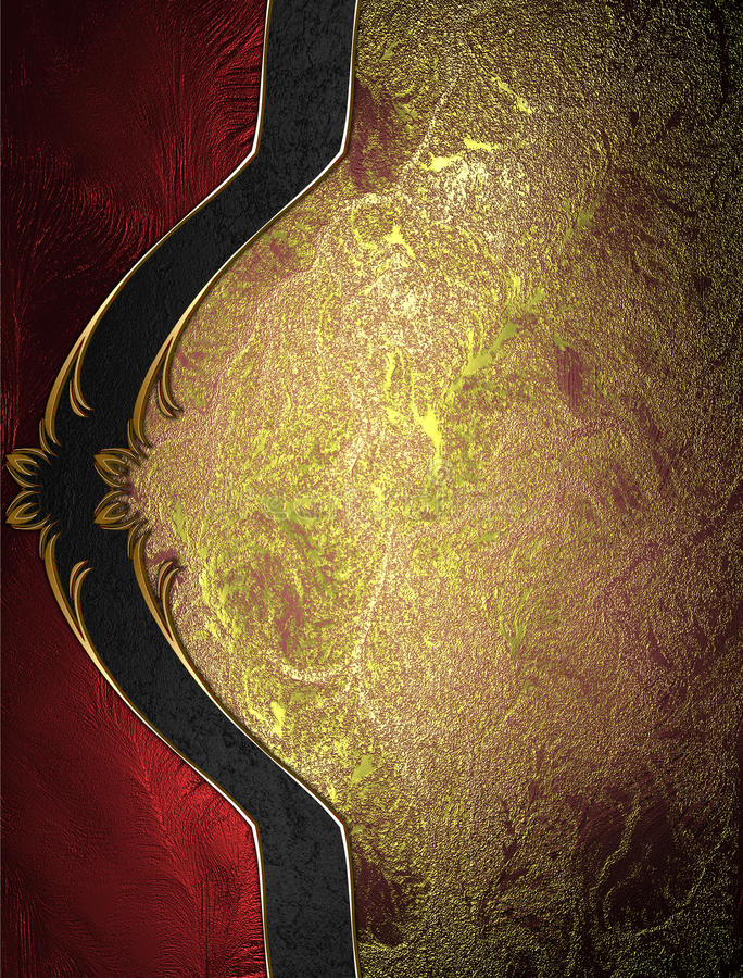 Fundo vermelho do ouro com a decoração bonita elegante Molde para o projeto copie o espaço para o folheto do anúncio ou o convite ilustração stock