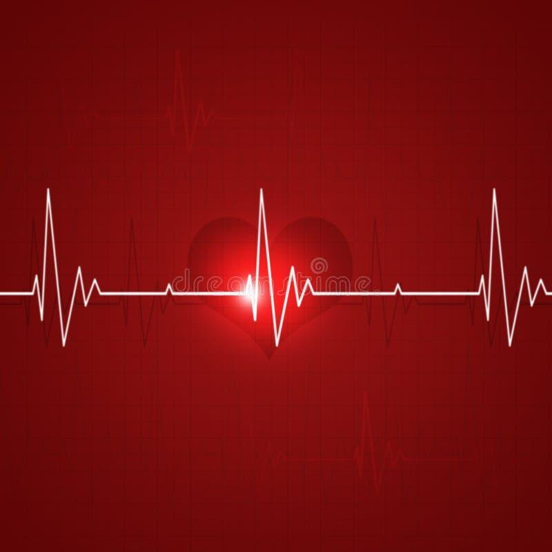 Fundo vermelho do ritmo do coração ilustração do vetor