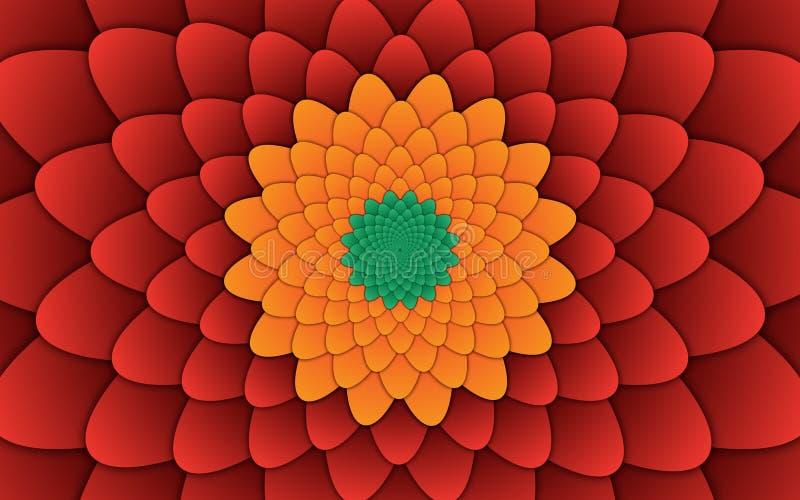 Fundo vermelho do teste padrão decorativo abstrato da mandala da flor horizontal imagens de stock