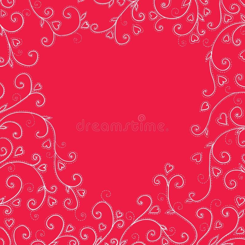 Fundo vermelho do vintage com corações ilustração do vetor