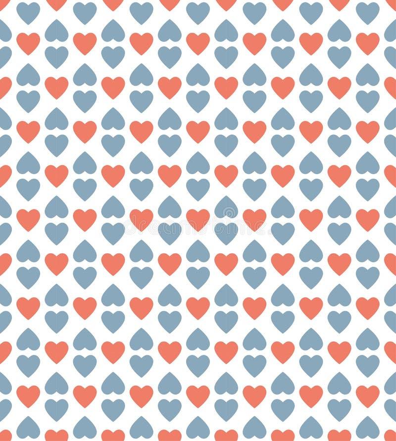 Fundo vermelho e azul do teste padrão do coração imagem de stock royalty free