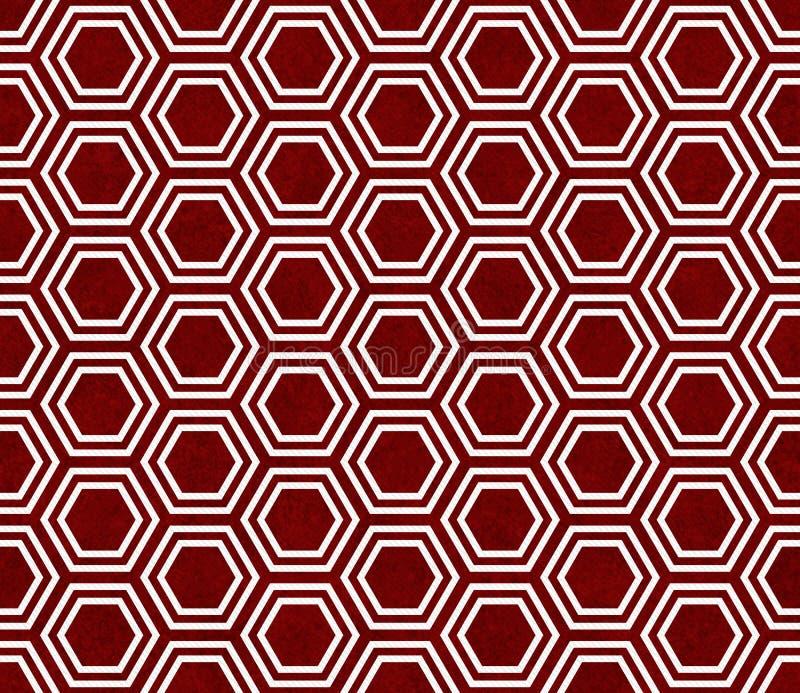 Fundo vermelho e branco da repetição do teste padrão da telha do hexágono imagem de stock