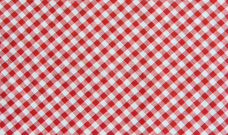 Fundo vermelho e branco da toalha de mesa, tela da manta fotografia de stock royalty free