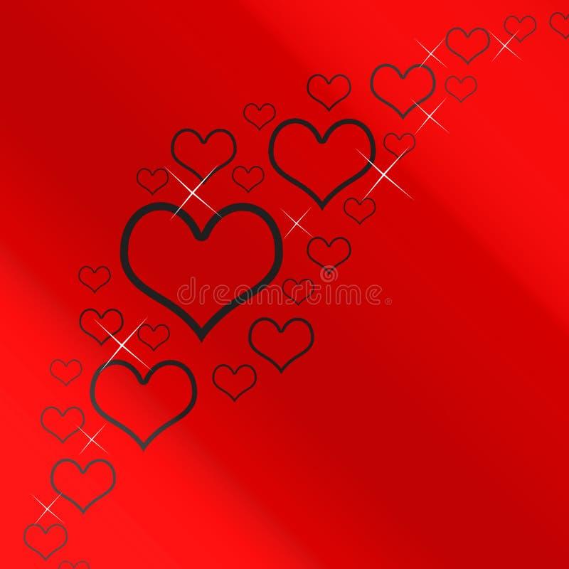 Fundo vermelho e de prata dos corações ilustração do vetor