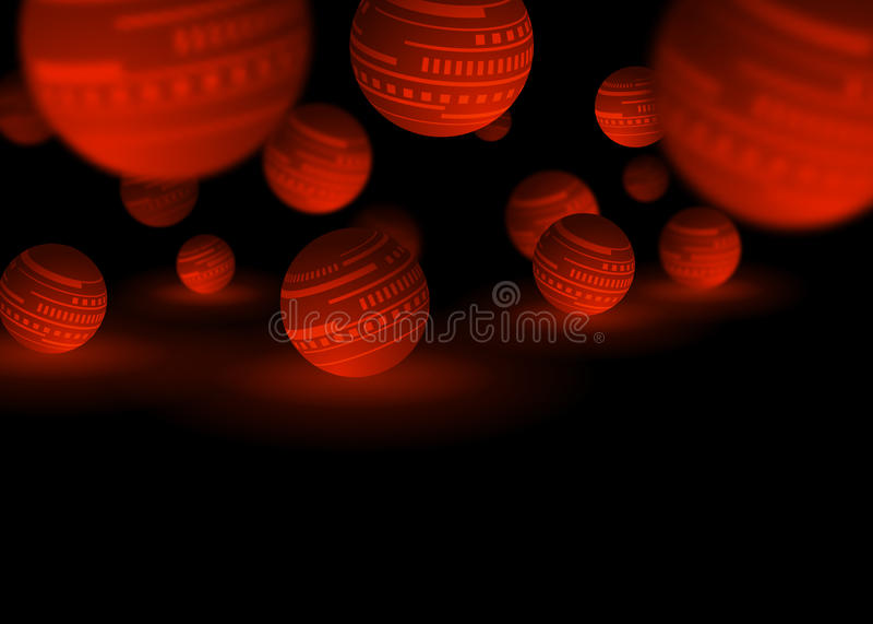 Fundo vermelho e preto do sumário da tecnologia das bolas ilustração stock