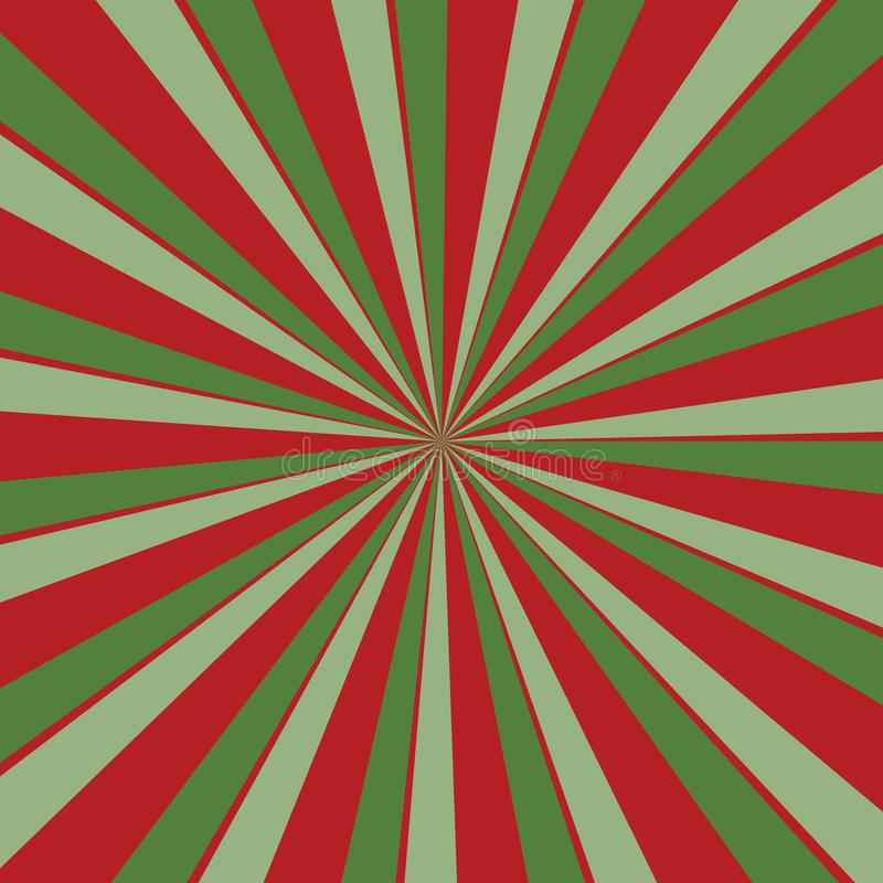 Fundo vermelho e verde retro do sunburst em cores do Natal com teste padrão listrado radial ilustração royalty free