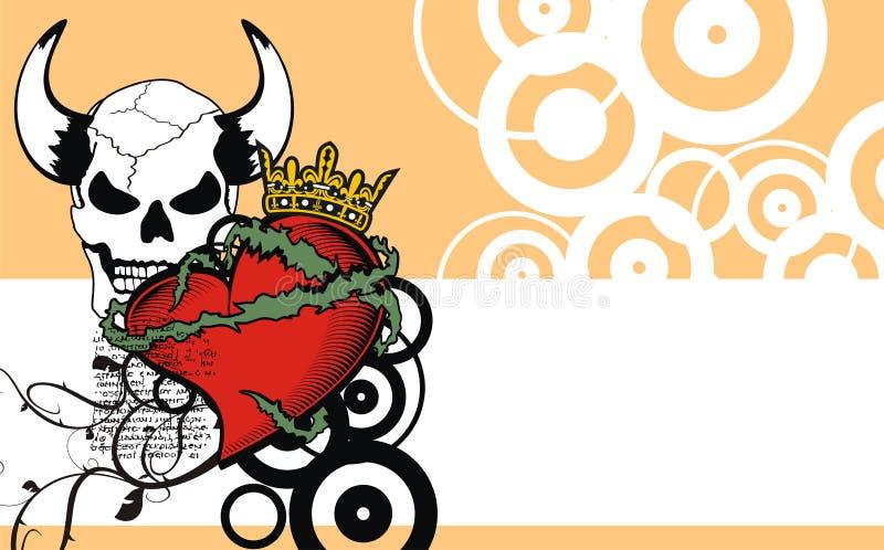 Fundo vermelho heráldico da crista da tatuagem do coração ilustração do vetor
