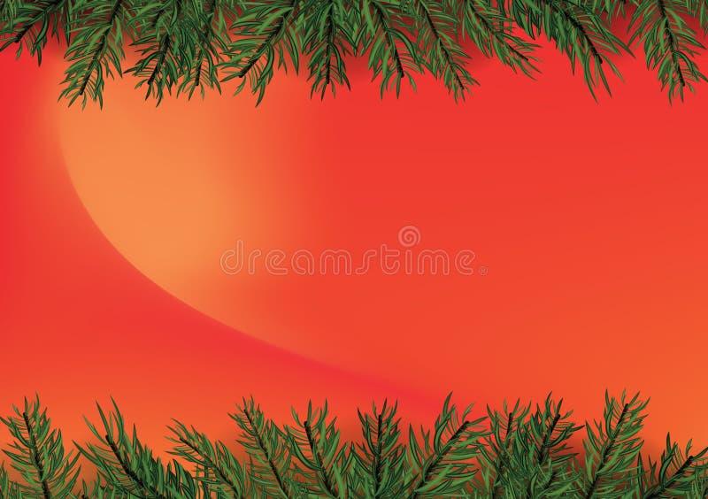 Fundo vermelho na moda do inclinação com a decoração da árvore de Natal ilustração do vetor