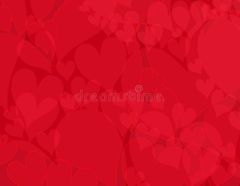 Fundo vermelho opaco escuro dos corações ilustração stock