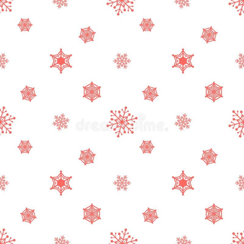 Fundo vermelho pastel do floco de neve ilustração stock
