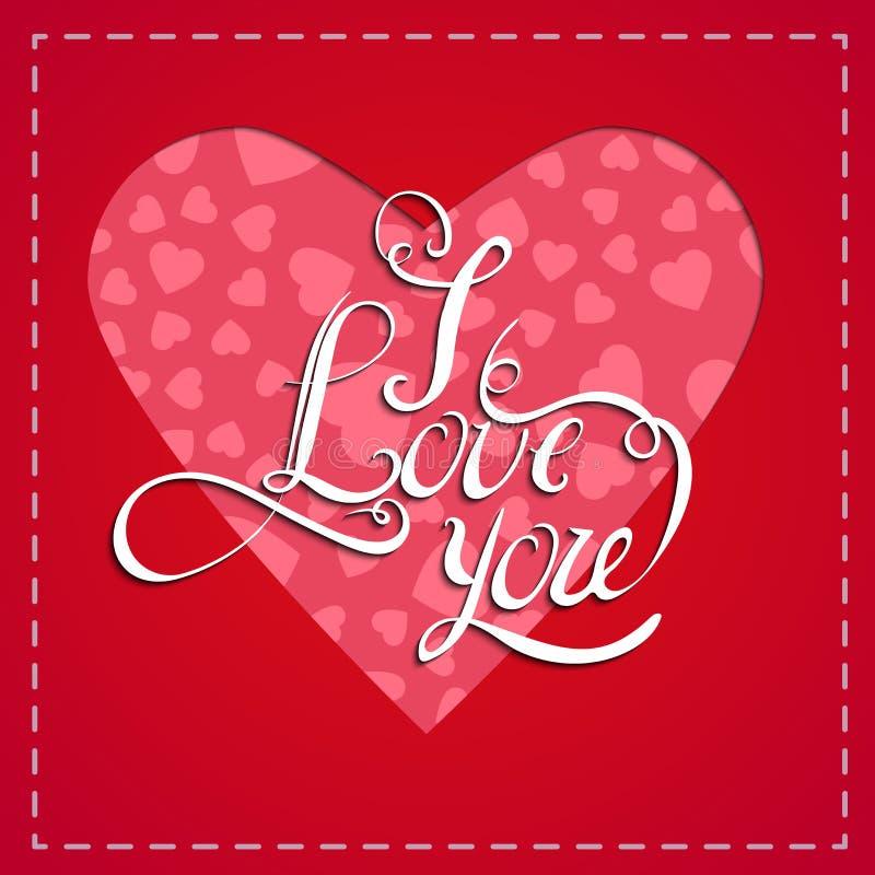 Fundo vermelho romântico do coração Ilustração do vetor para o projeto do feriado Para o cartão de casamento, cumprimentos do dia ilustração do vetor