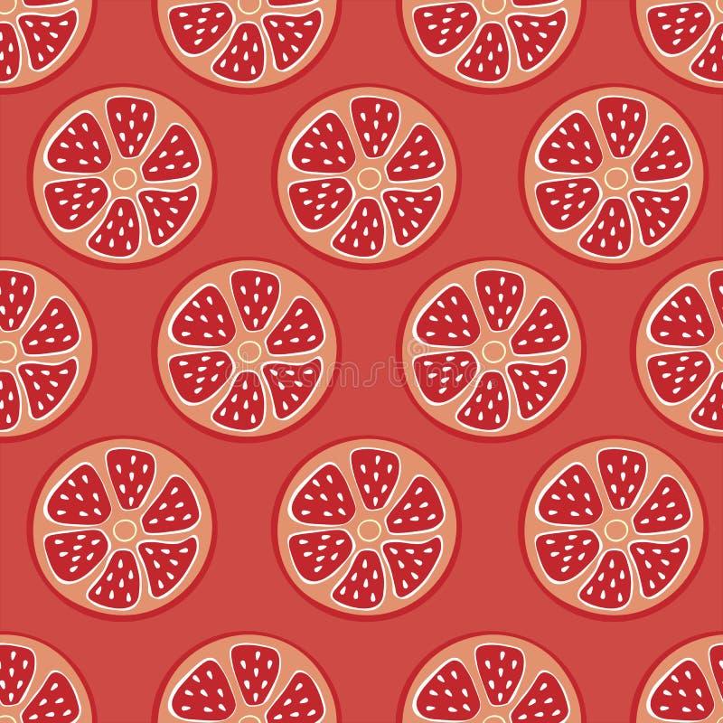 Fundo vermelho sem emenda do citrino, toranja elegante, simples do vetor, fundo do pomelo, vitamina fresca do verão ilustração stock