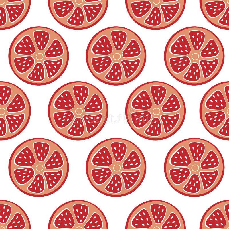 Fundo vermelho sem emenda do citrino, toranja elegante, simples do vetor, fundo do pomelo, vitamina fresca do verão ilustração royalty free