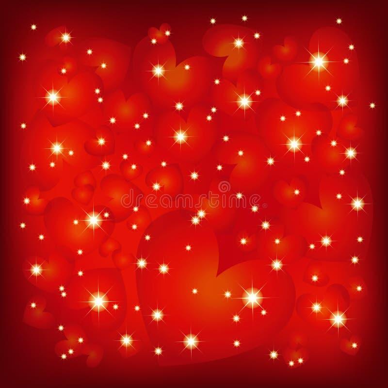 Fundo vermelho sparkly do Valentim abstrato do St ilustração stock