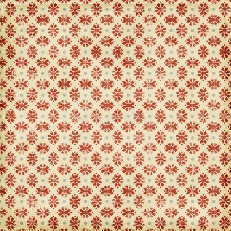 Fundo vermelho sujo do floco de neve do Natal ilustração stock