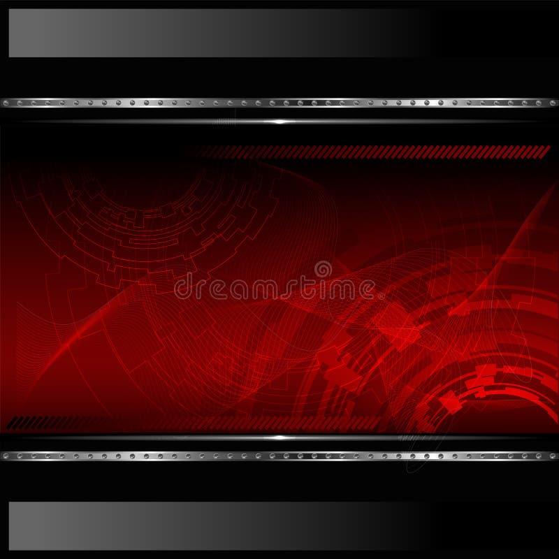 Fundo vermelho tecnológico com bandeira metálica. ilustração stock