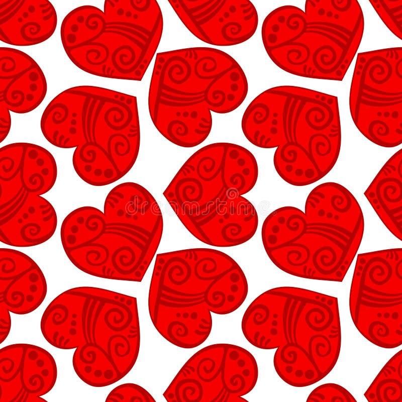 Fundo vermelho tribal sem emenda dos corações ilustração royalty free