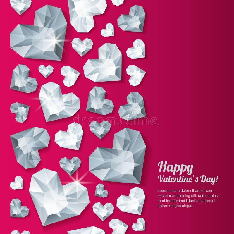 Fundo vermelho vertical do dia de Valentim com os diamantes do coração da prata 3d, gemas, joias ilustração do vetor