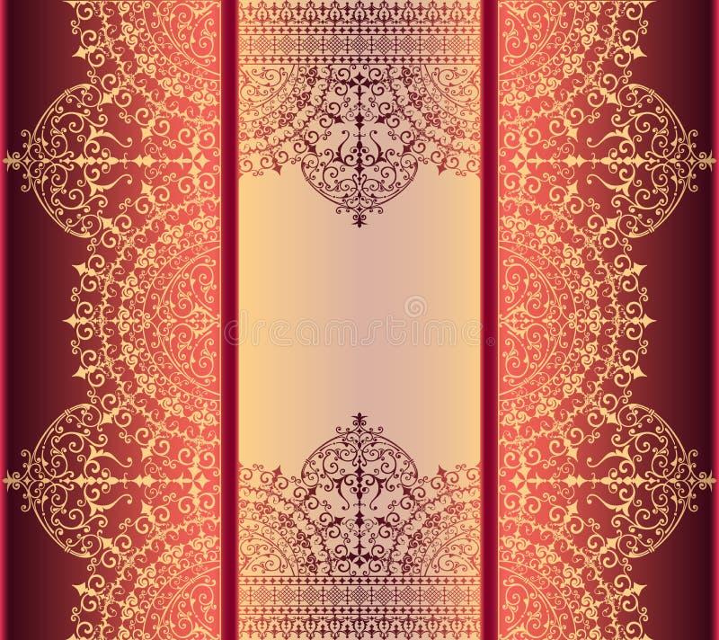 Fundo vertical com da beira filigrana do quadro do ouro ouro oriental com ornamento do laço ilustração do vetor