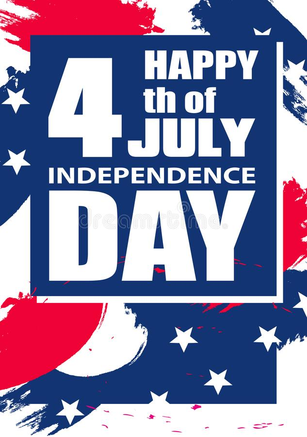 Fundo vertical moderno colorido para Dia da Independência EUA o 4 de julho para o cartaz ou a bandeira Vetor ilustração do vetor