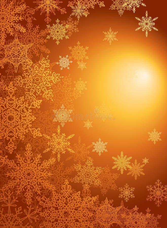 Fundo/vetor do ouro do floco de neve ilustração stock