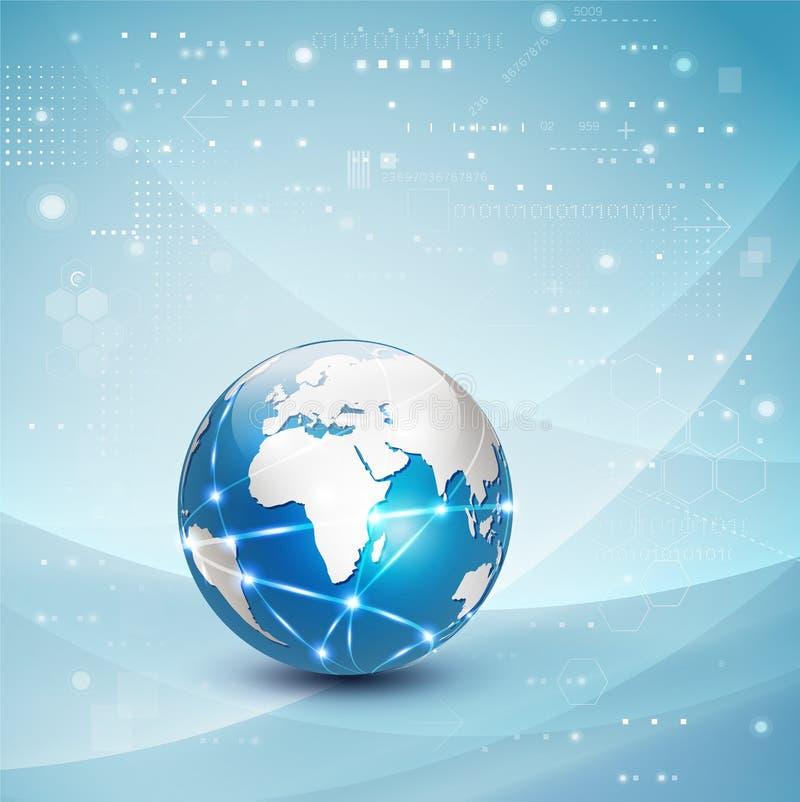 Fundo, vetor & ilustração do fluxo de uma comunicação da rede do mundo e do movimento do conceito da tecnologia ilustração do vetor