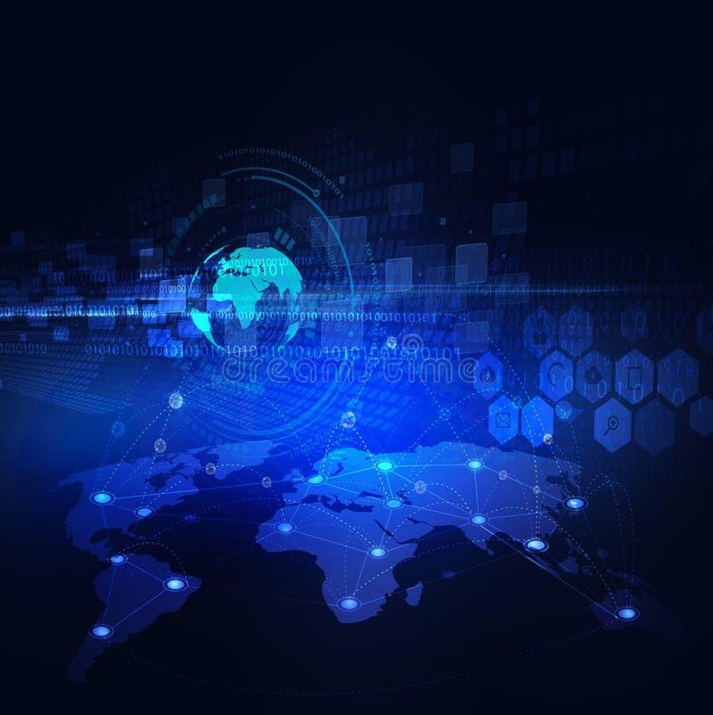 Fundo, vetor & ilustração futuristas do fluxo de uma comunicação da rede do mundo e do movimento do conceito da tecnologia ilustração royalty free